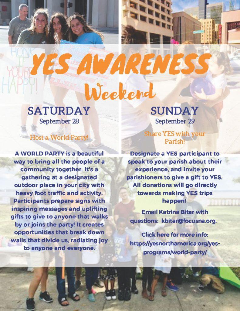 YES Awareness Weekend September 28-29! – FOCUS North America